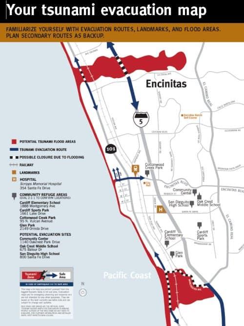 Del Mar And Encinitas Tsunami Facts Preparedness And Evacuation Map