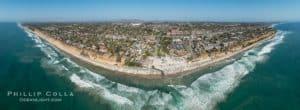 Aerial Panoramic Photo of Moonlight Beach and Encinitas